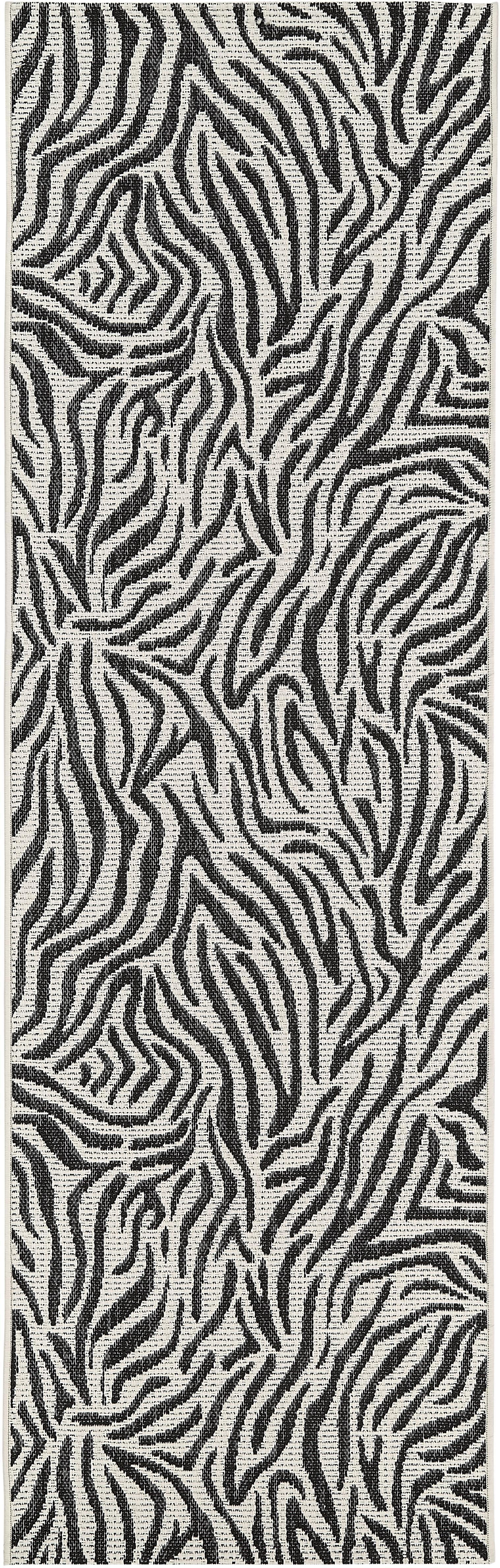 In- & Outdoor-Läufer Exotic mit Zebra Print, Flor: 100% Polypropylen, Cremeweiß, Schwarz, 80 x 250 cm