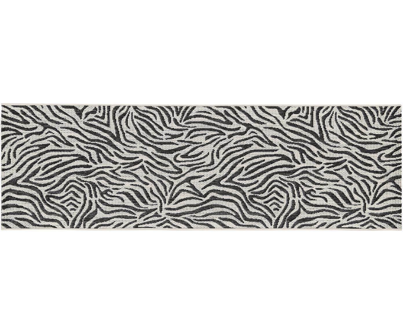 In- & outdoor loper Exotic, Bovenzijde: polypropyleen, Onderzijde: polyester, Crèmewit, zwart, 80 x 250 cm