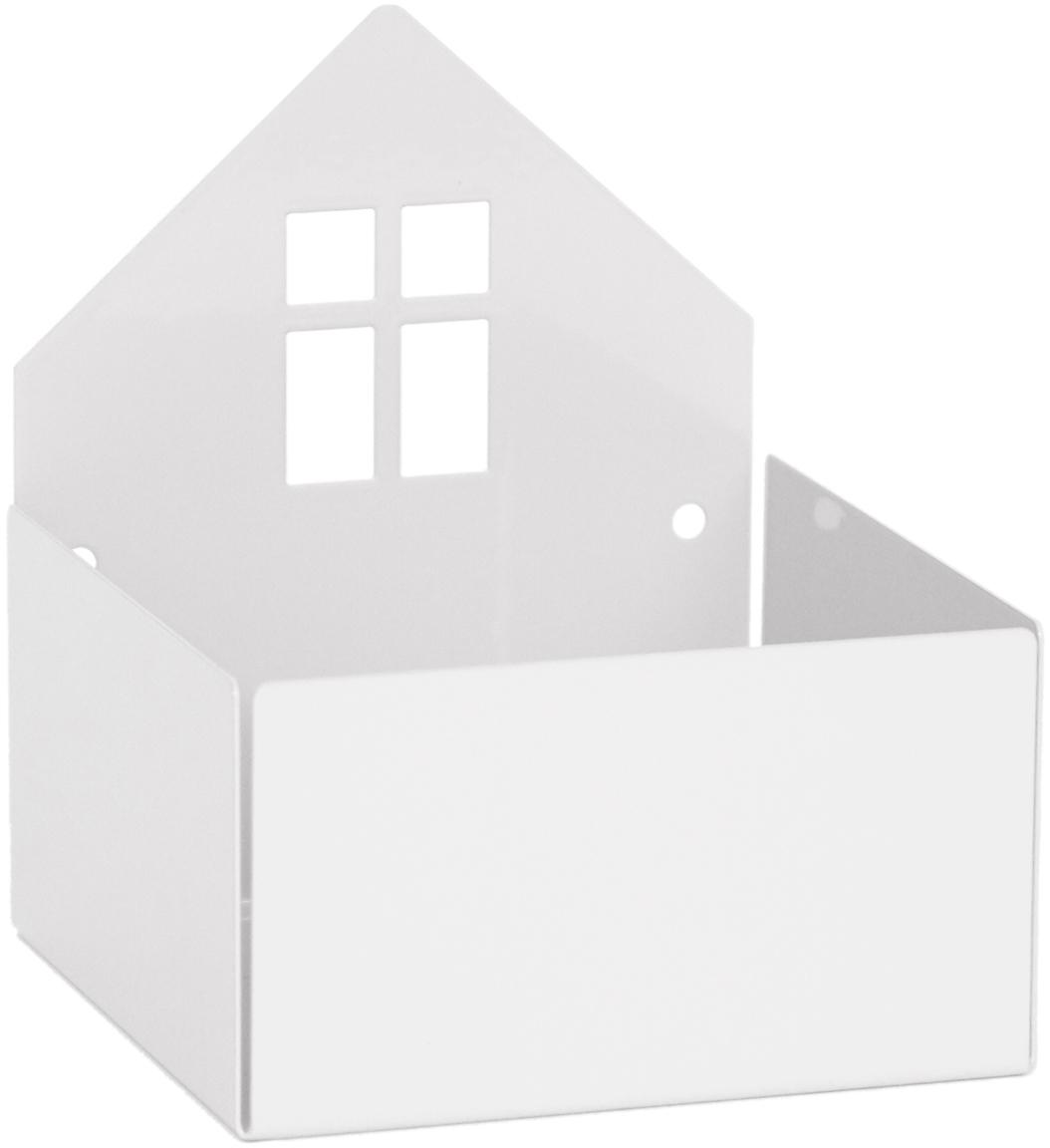 Aufbewahrungsbox Town House, Metall, pulverbeschichtet, Weiß, 11 x 13 cm