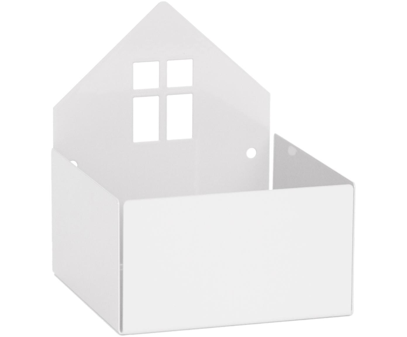 Pudełko do przechowywania Town House, Metal malowany proszkowo, Biały, S 11 x W 13 cm