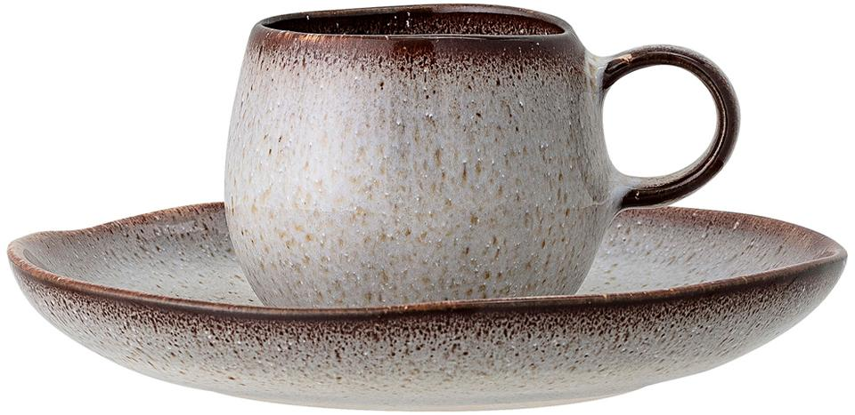 Handgemachte Espressotasse mit Untertasse Sandrine in Beige, Steingut, Beigetöne, Sondergrößen