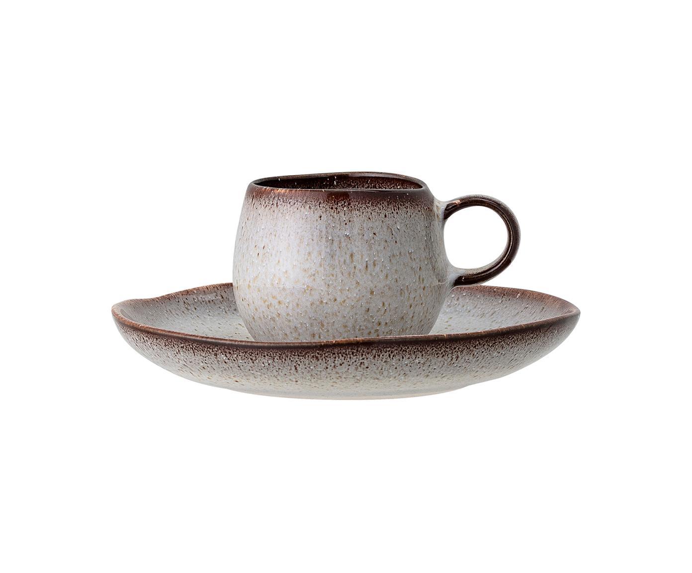 Taza de café artesanal con platito Sandrine, Gres, Gris, marrón, Ø 7 x Al 6 cm