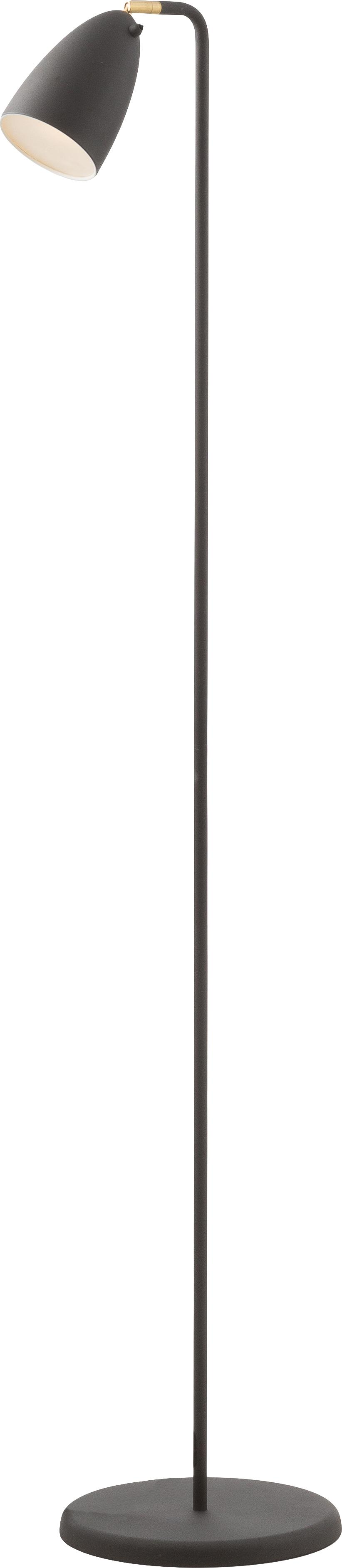 Leselampe Nexus aus Metall, Lampenschirm: Metall, pulverbeschichtet, Lampenfuß: Metall, pulverbeschichtet, Dekor: Metall, vermessingt, Schwarz, Ø 26 x H 142 cm