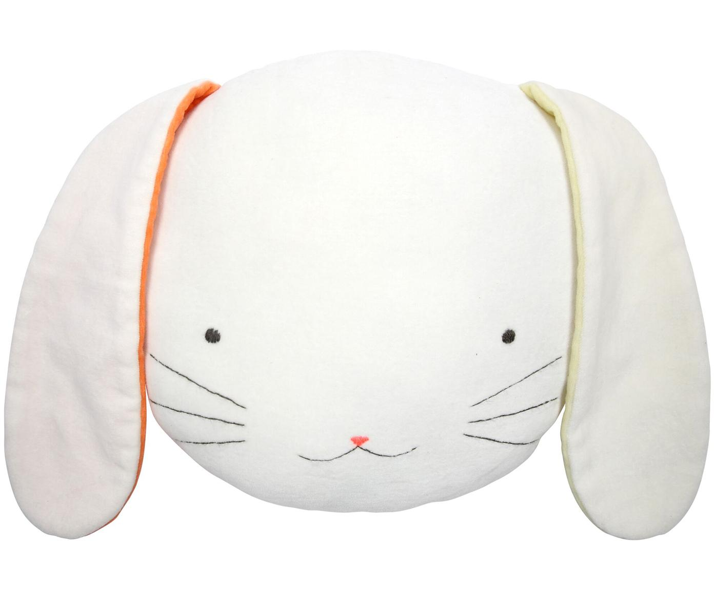 Cuscino coniglietto soffice Bunny, Rivestimento: velluto di cotone, Bianco, giallo, arancione, nero, Larg. 26 x Alt. 20 cm