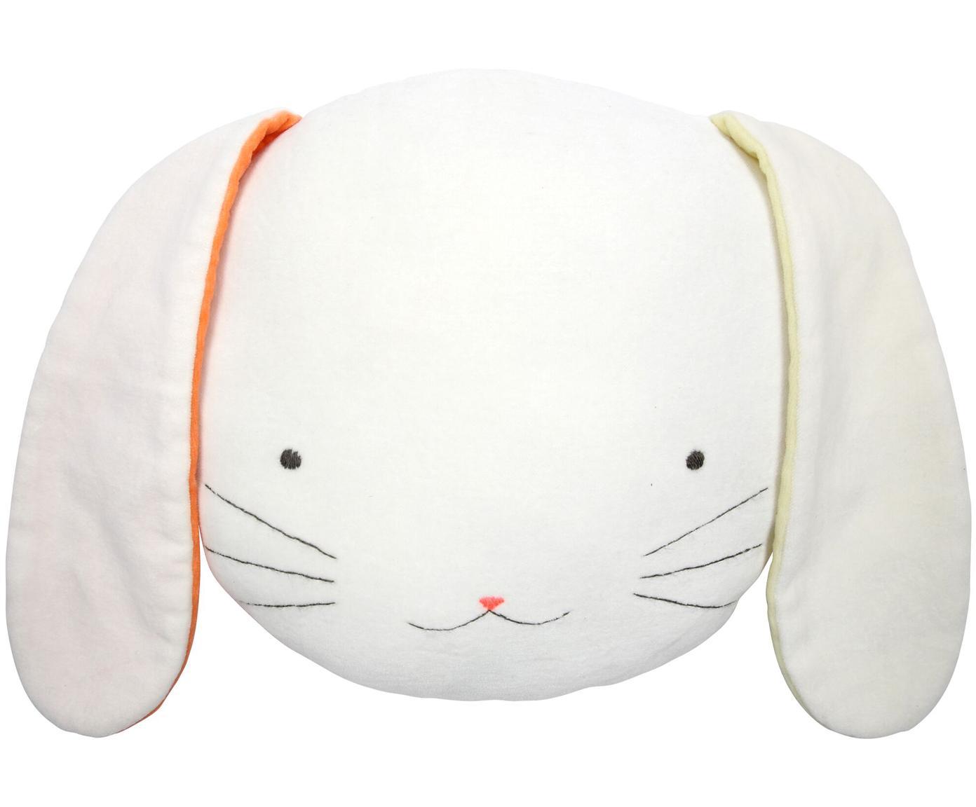 Knuffelkussen Bunny, Wit, geel, oranje, zwart, 26 x 20 cm