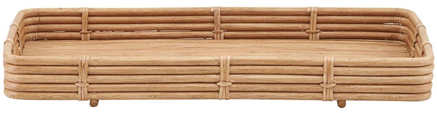 Handgemachtes Rattan-Tablett Orga, Rattan, Rattan, B 52 x T 30 cm