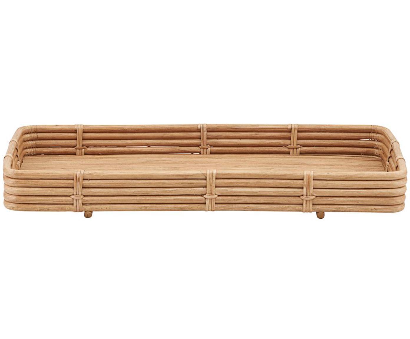 Handgefertigtes Rattan-Tablett Orga, Rattan, Rattan, B 52 x T 30 cm