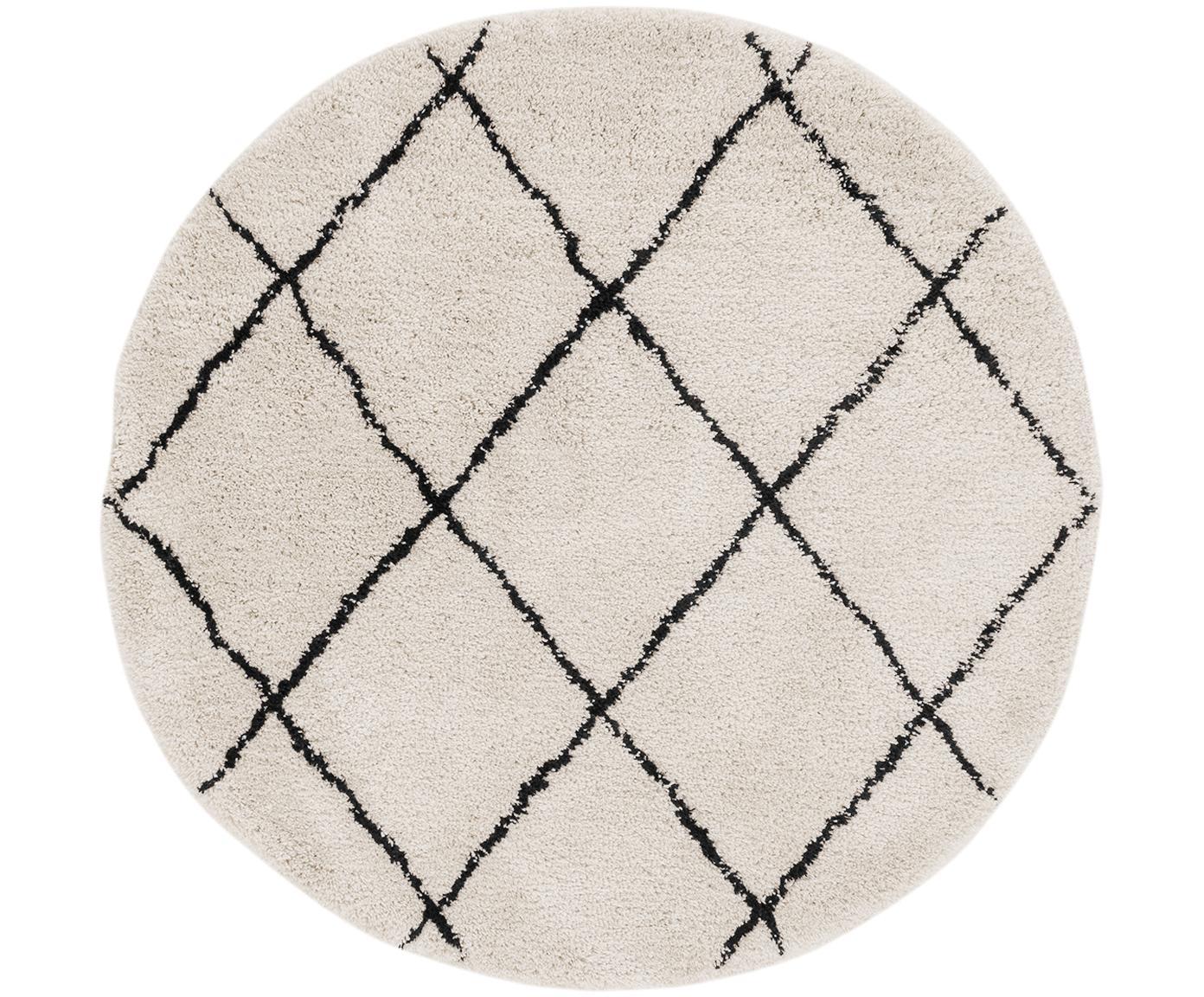 Handgetuft vloerkleed Naima, Bovenzijde: polyester, Onderzijde: katoen, Beige, zwart, Ø 200 cm (maat L)
