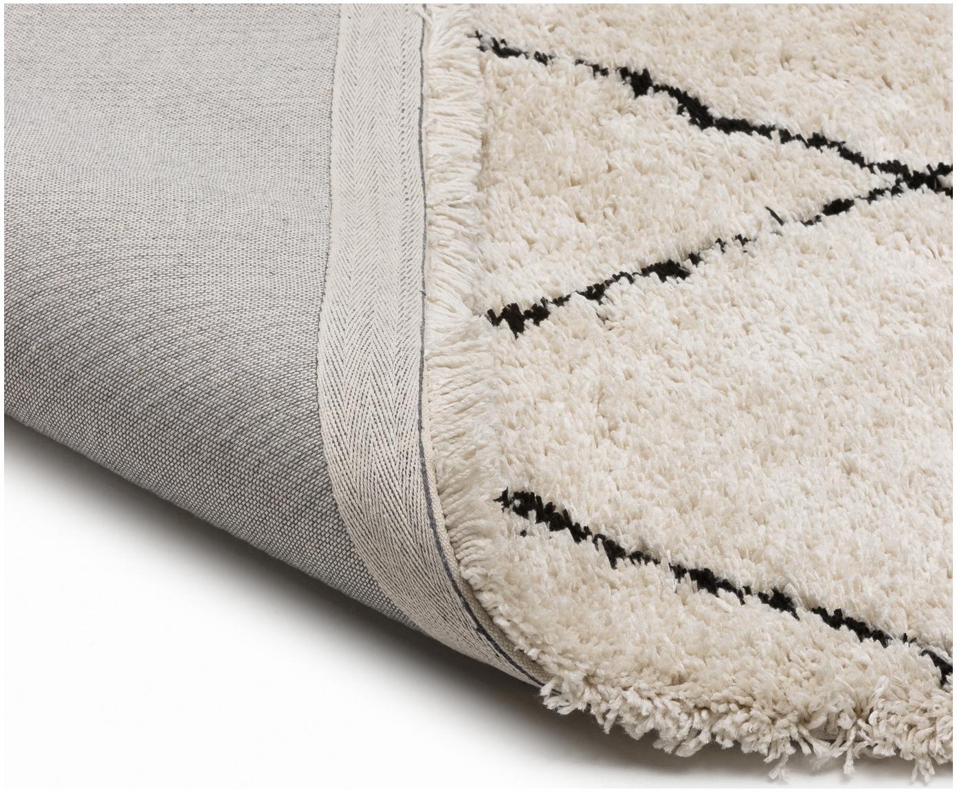 Okrągły ręcznie tuftowany dywan z frędzlami Naima, Beżowy, czarny, ∅ 140 cm (Rozmiar M)