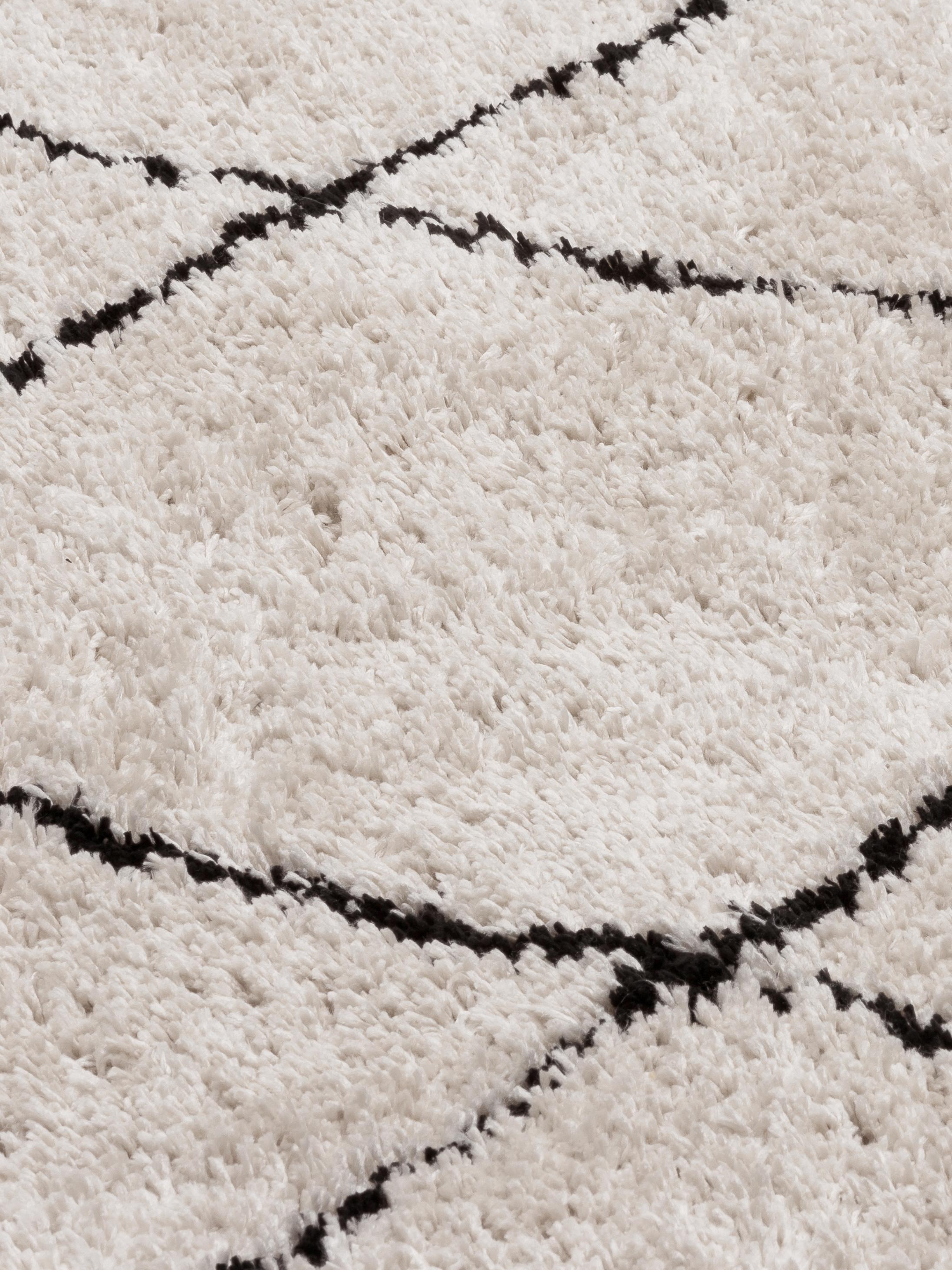 Runder flauschiger Hochflor-Teppich Naima, handgetuftet, Flor: 100% Polyester, Beige, Schwarz, Ø 140 cm (Grösse M)