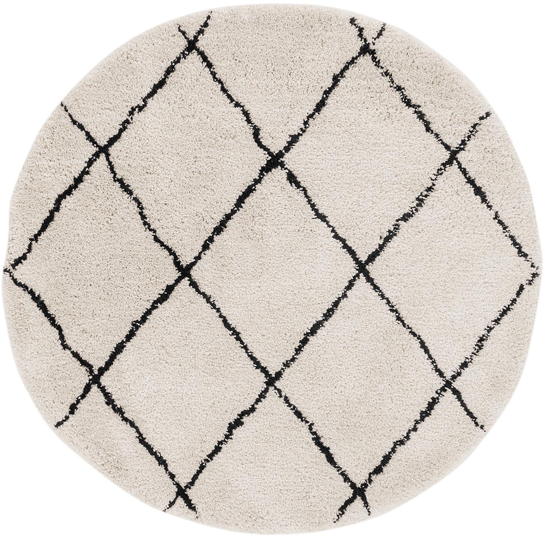 Handgetuft vloerkleed Naima, Bovenzijde: 100% polyester, Onderzijde: 100% katoen, Beige, zwart, Ø 140 cm