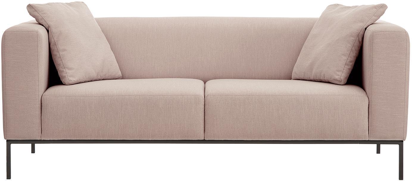 Sofa Carrie (3-Sitzer), Bezug: Polyester 50.000 Scheuert, Gestell: Spanholz, Hartfaserplatte, Füße: Metall, lackiert, Webstoff Altrosa, B 202 x T 86 cm