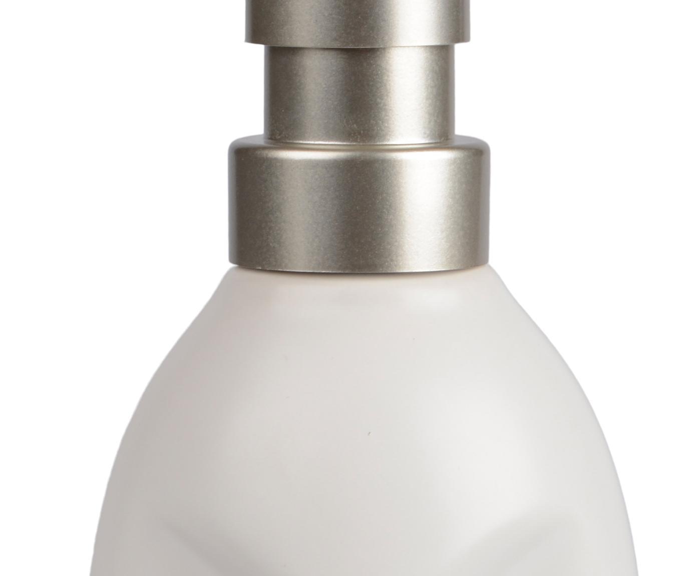 Seifenspender Urban, Behälter: Keramik, Pumpkopf: Kunststoff, Weiß, Metall, Ø 7 x H 19 cm