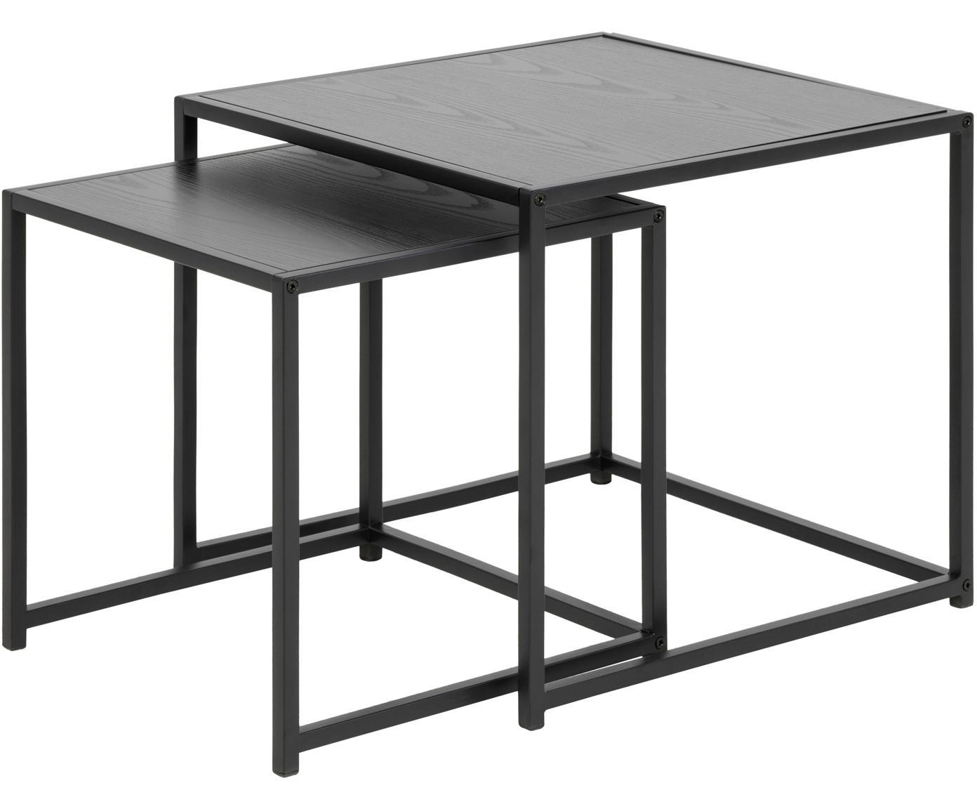 Set 2 tavolini Seaford, Pannello di fibra a media densità (MDF), metallo, Nero, Diverse dimensioni