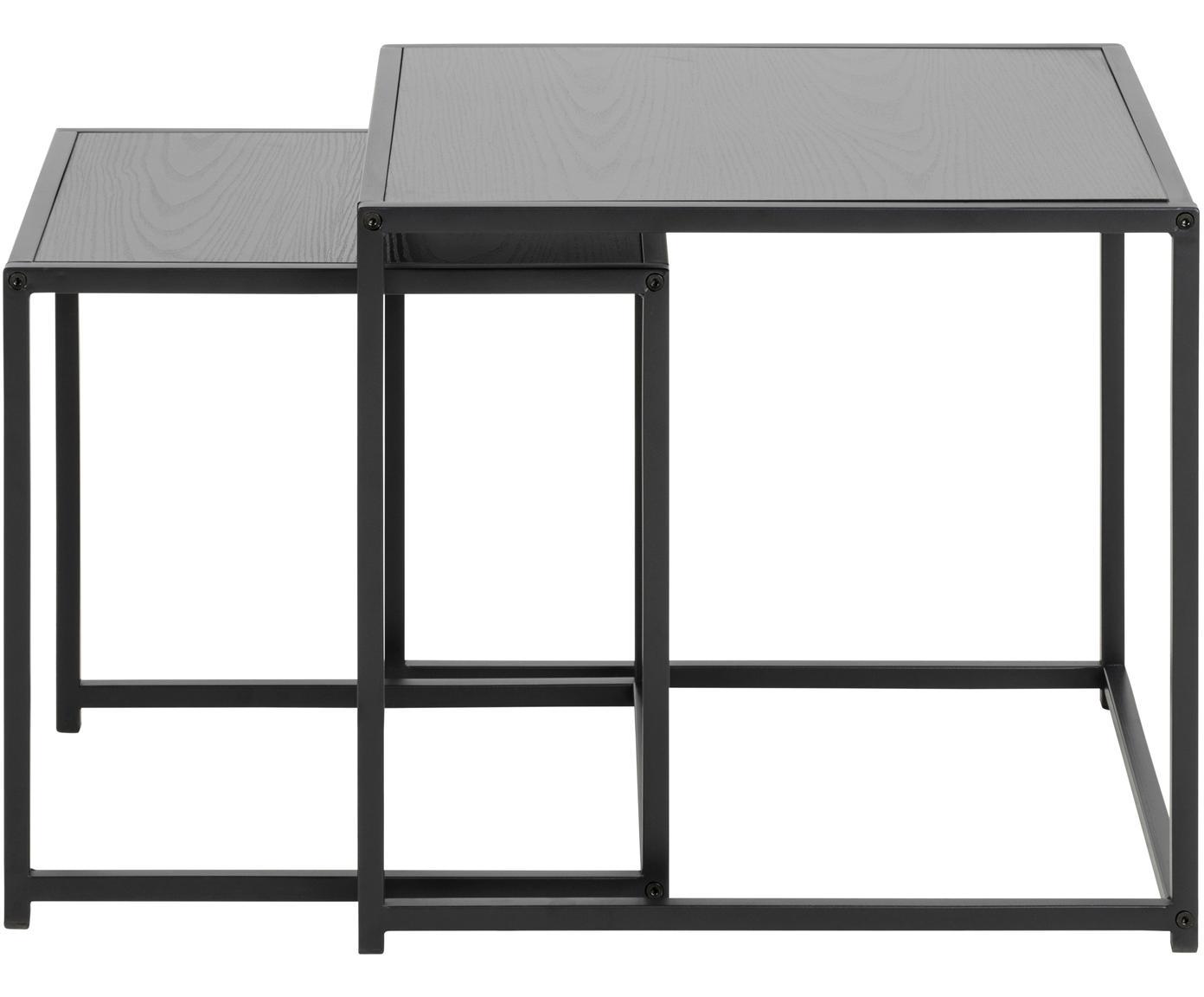 Komplet stolików pomocniczych  Seaford, 2 elem., Płyta pilśniowa średniej gęstości (MDF), metal, Czarny, Różne rozmiary