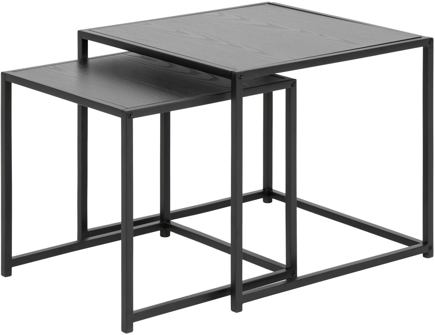 Komplet stolików pomocniczych  Seaford, 2 elem., Płyta pilśniowa średniej gęstości (MDF), metal, Czarny, Komplet z różnymi rozmiarami