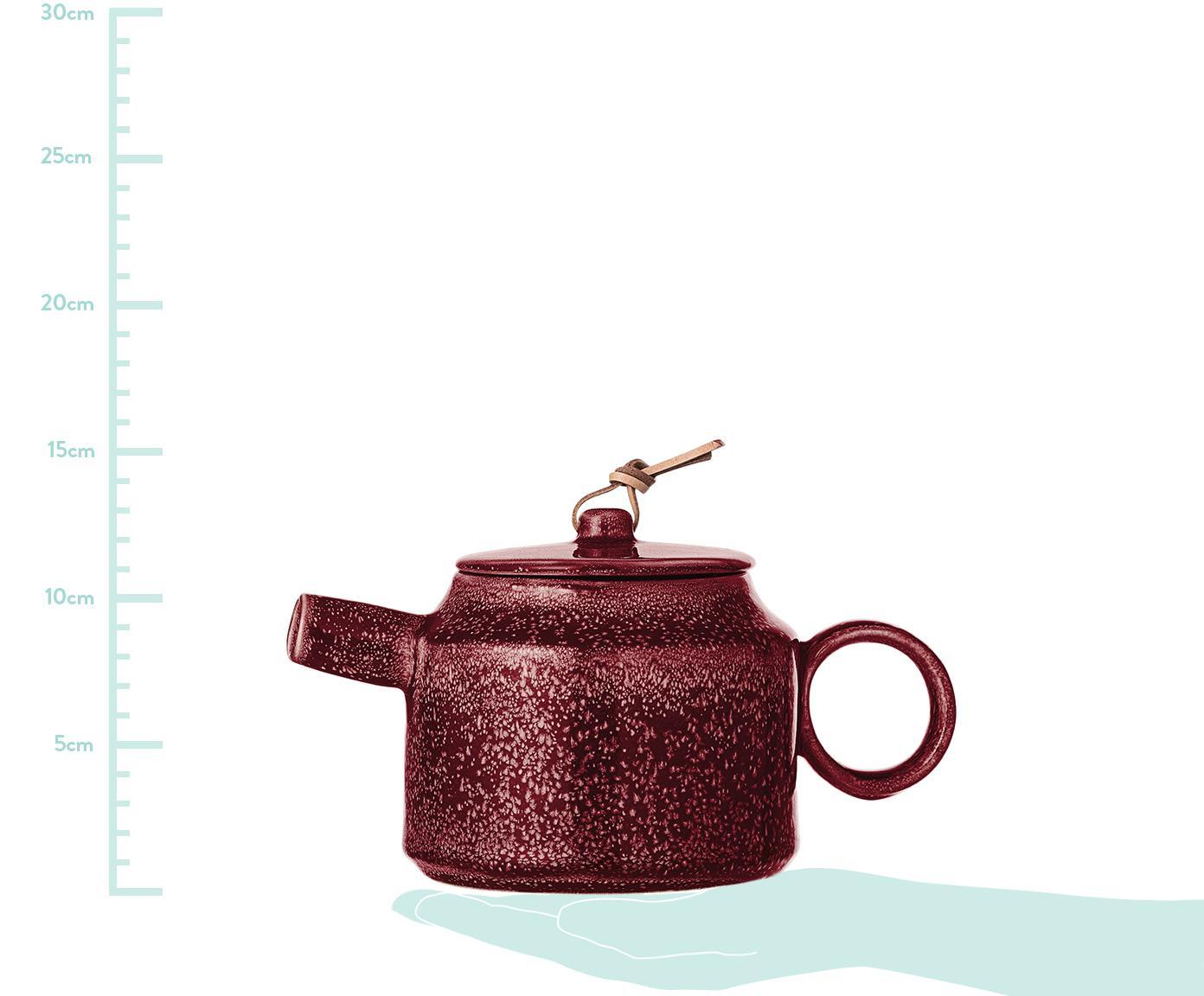 Teiera fatta a mano Joëlle, Teiera: terracotta, Cinturino: pelle, Rosso scuro, 570 ml