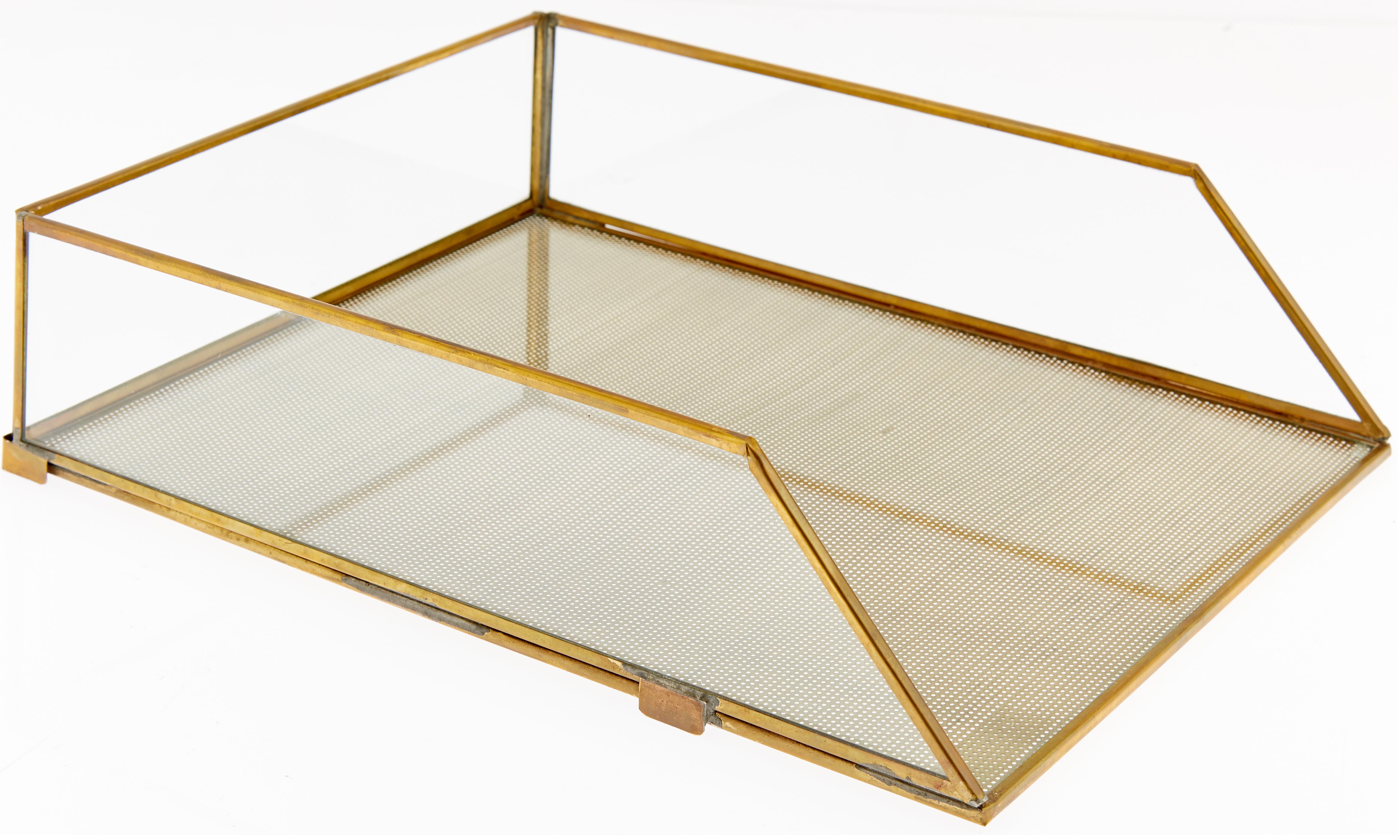 Organizer per documenti Letters, Struttura: metallo rivestito, Ottone trasparente, Larg. 25 x Alt. 8 cm