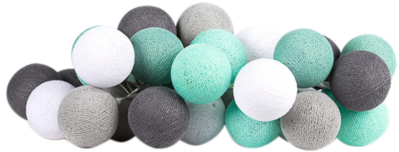 LED Lichterkette Colorain, Lampions: Polyester, Mintgrün, Grautöne, Weiss, L 264 cm