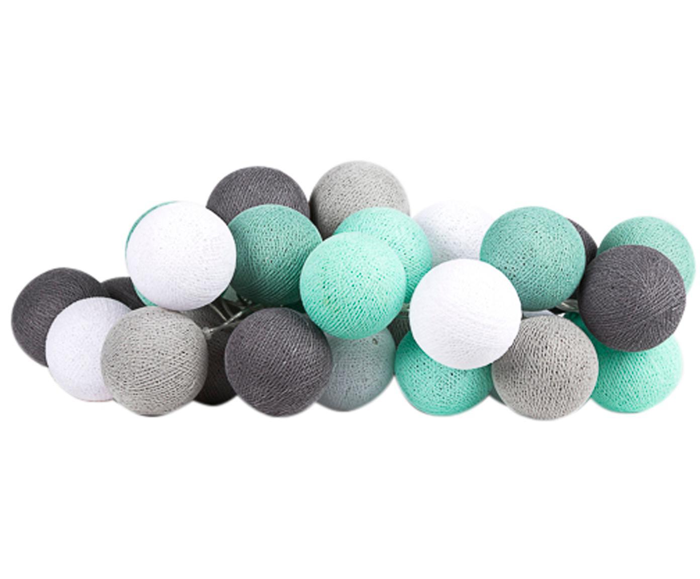 Guirnalda de luces LED Colorain, Linternas: poliéster, Cable: plástico, Verde menta, gris, blanco, L 264 cm