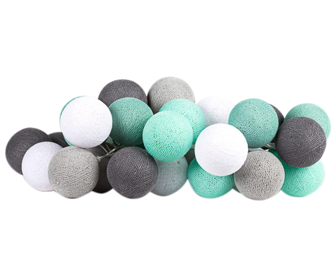 LED Lichterkette Colorain, Lampions: Polyester, Mintgrün, Grautöne, Weiß, L 264 cm