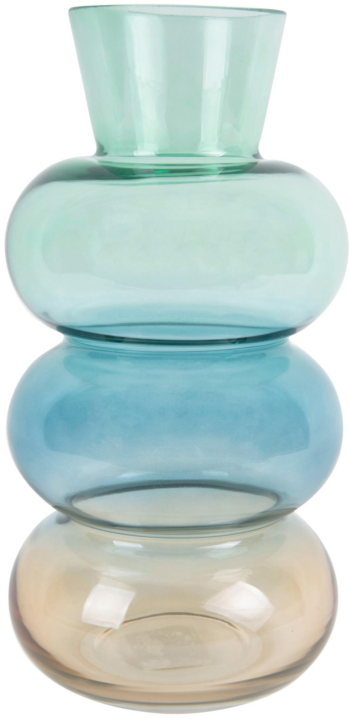 Mondgebblazen glazen vaas Winter Dream, Glas, Bruin, blauw, groen, Ø 14 x H 28 cm