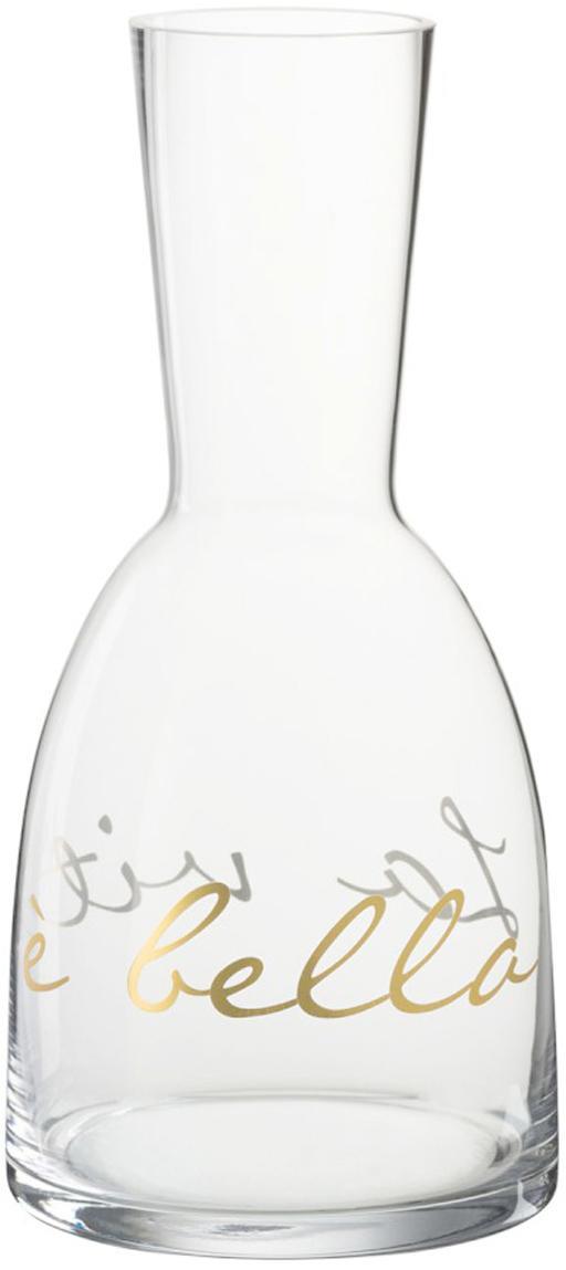 Caraffa La Vita, Vetro, Trasparente, dorato, Ø 12 x Alt. 26 cm