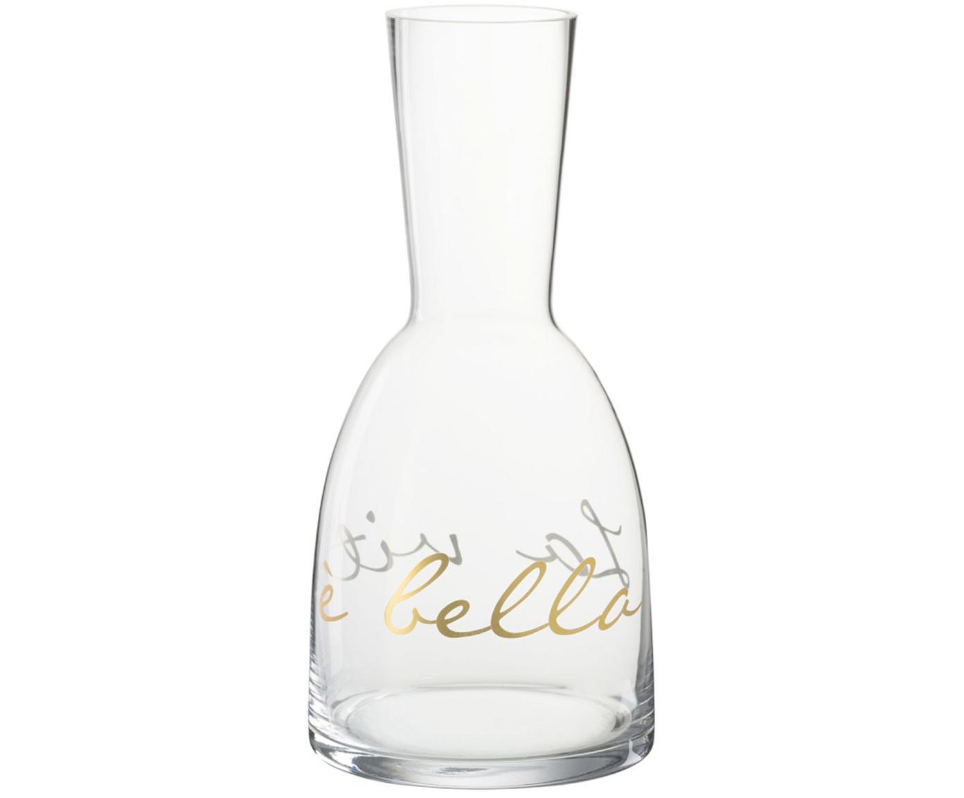 Karaffe La Vita mit goldfarbener Aufschrift, Glas, Transparent, Goldfarben, Ø 12 x H 26 cm