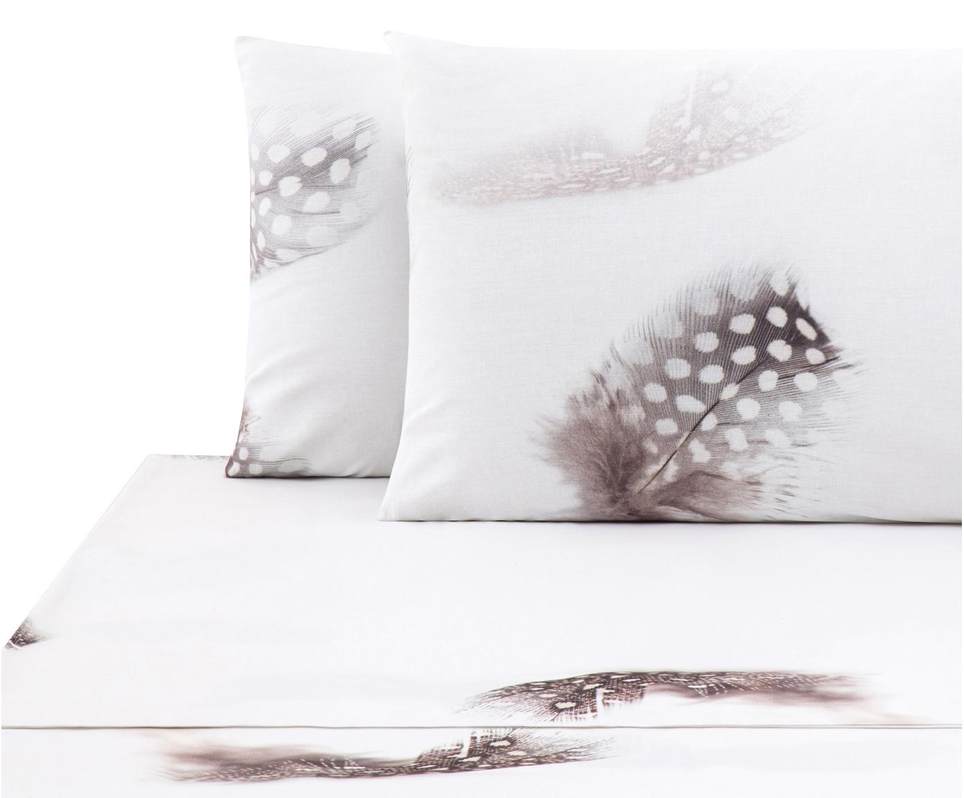 Set lenzuola in cotone ranforce Light 3 pz, Tessuto: Renforcé, Bianco, marrone, grigio, 240 x 270 cm