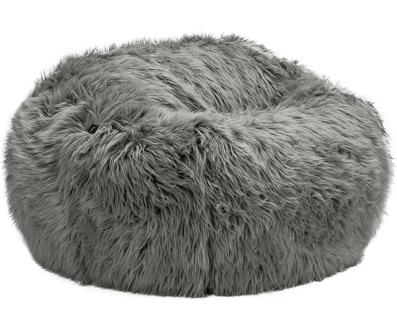 Poduszka do siedzenia z tworzywa sztucznego Flokati, Tapicerka: 95% akryl, 5% poliester 4, Szary, Ø 110 x W 70 cm