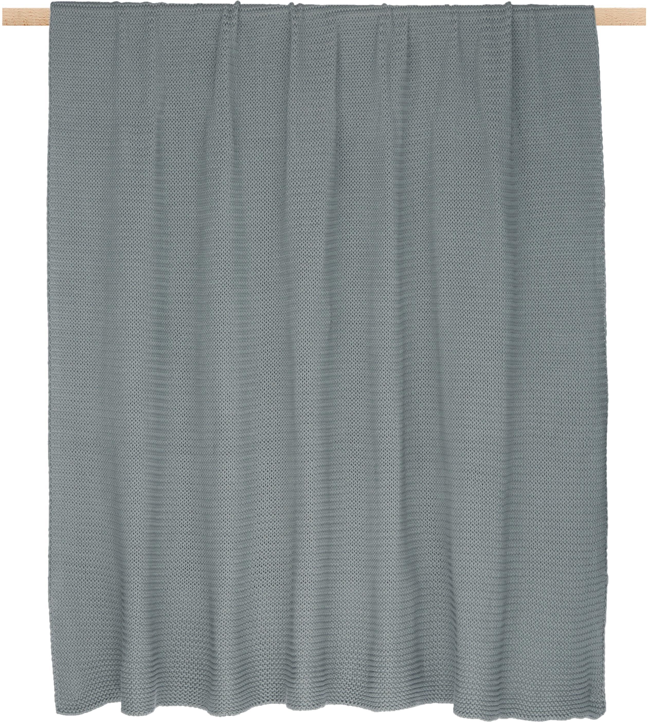 Plaid fatto a maglia Adalyn, 100% cotone, Verde salvia, Larg. 150 x Lung. 200 cm