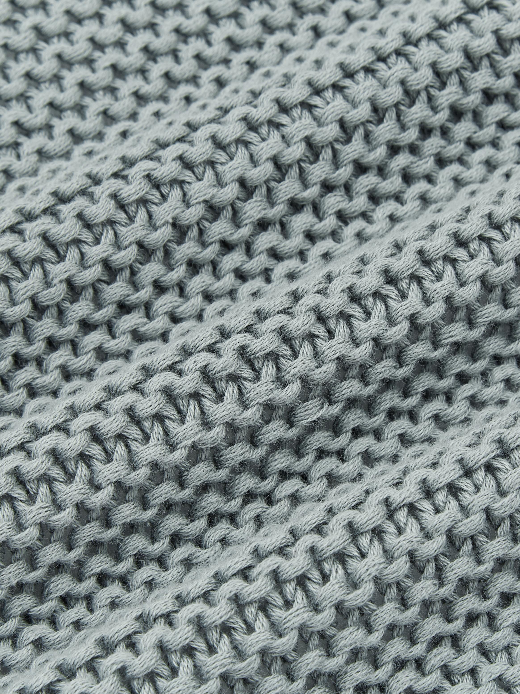 Strick-Plaid Adalyn in Salbeigrün, 100% Baumwolle, Salbeigrün, 150 x 200 cm