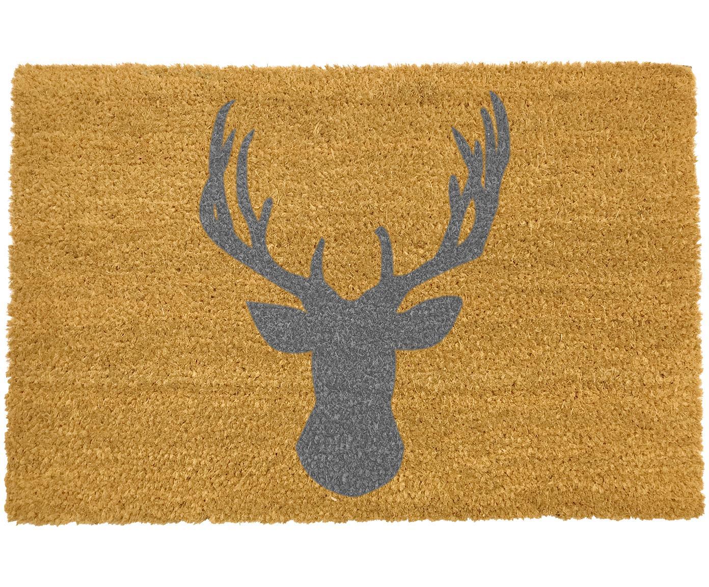 Fußmatte Stagshead, Kokosfaser, Fußmatte: Beige, Schriftzug: Grau, 40 x 60 cm