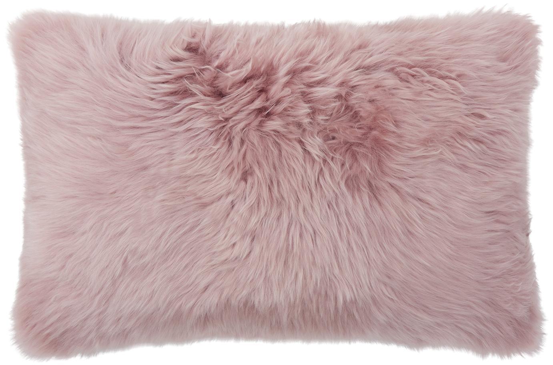 Federa arredo in pelliccia di pecora Oslo, Retro: lino, Fronte: rosa Retro: grigio chiaro, Larg. 30 x Lung. 50 cm