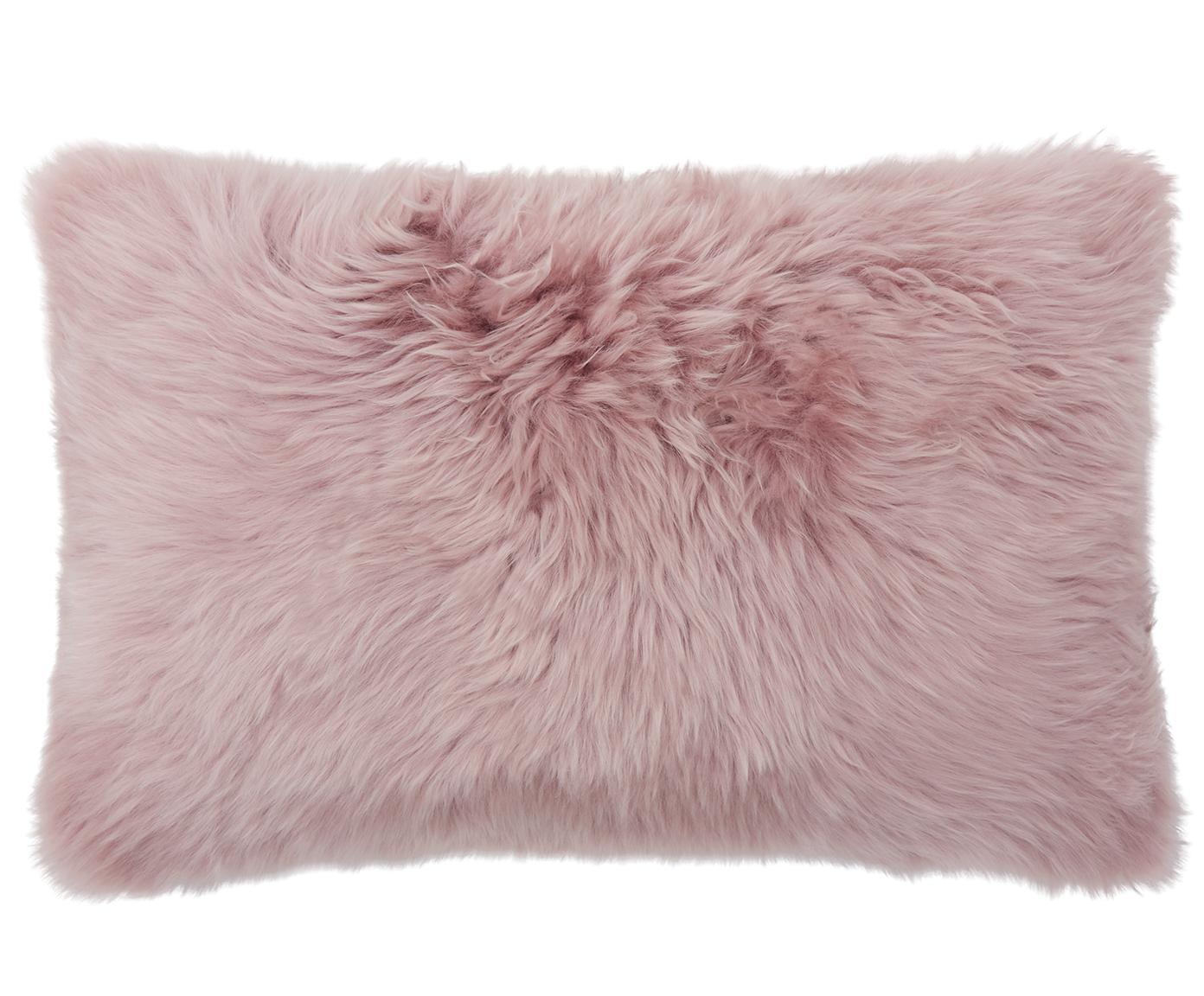Funda de cojín de piel de oveja Oslo, Parte delantera: piel de oveja, Parte trasera: lino, Rosa, gris claro, An 30 x L 50 cm