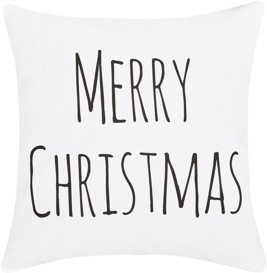 Housse de coussin imprimé Noël MerryChristmas, Blanc, noir