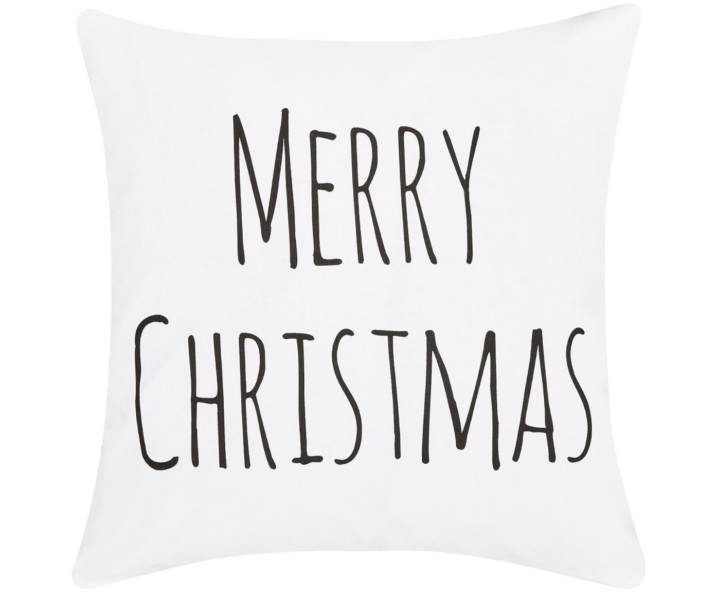 Kussenhoes Merry Christmas, 100% katoen, Wit, zwart, 40 x 40 cm