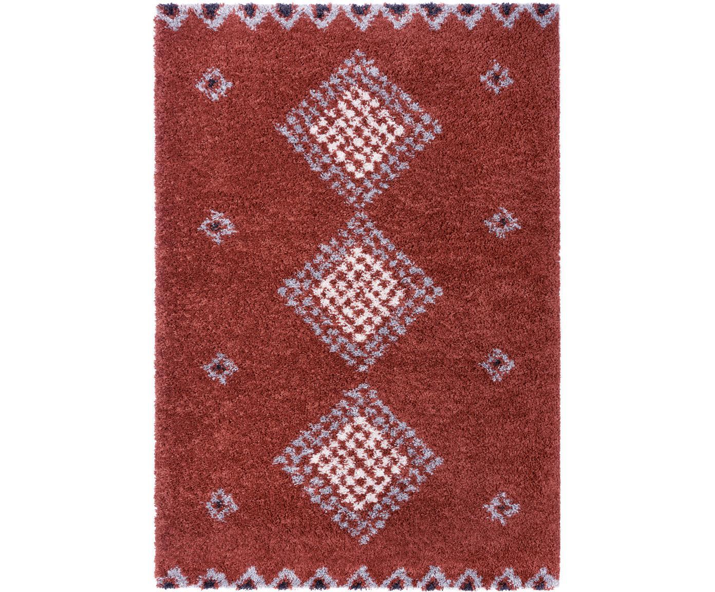Hochflor-Teppich Cassia mit Ethnomuster, 100% Polypropylen, Rostbraun, Grau, Cremefarben, Schwarz, B 80 x L 150 cm (Größe XS)