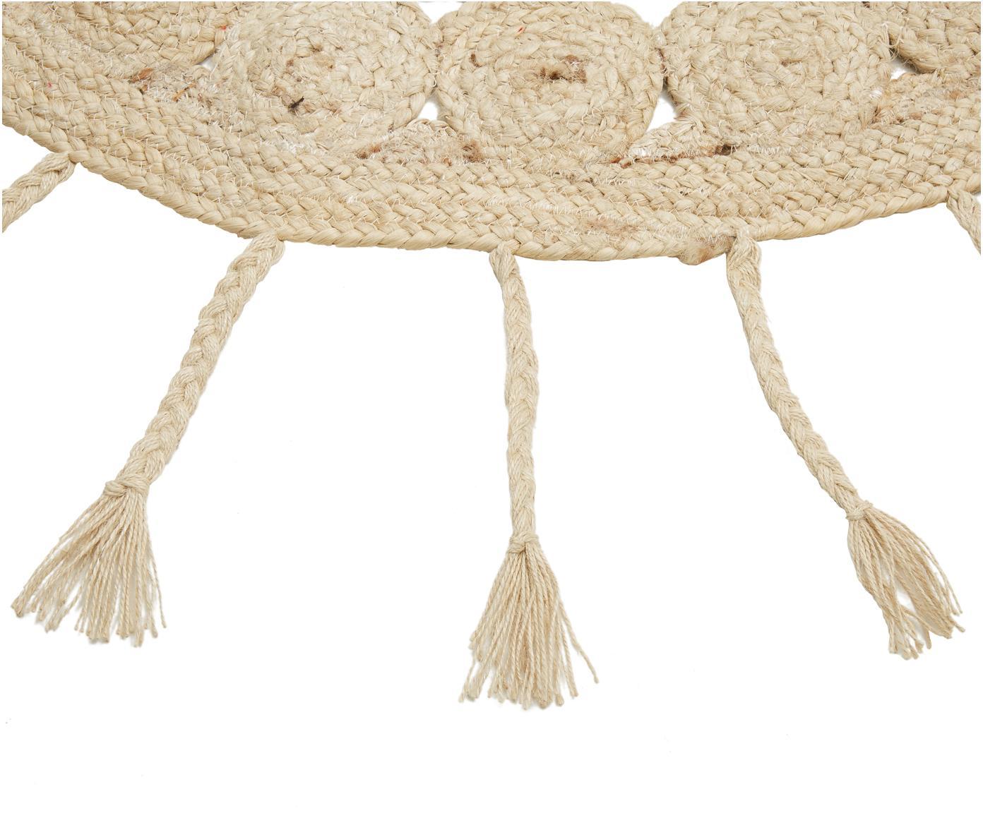 Runder Jute-Teppich Sun mit langen geflochtenen Fransen, 100% Jute, Jute, Ø 130 cm (Grösse M)