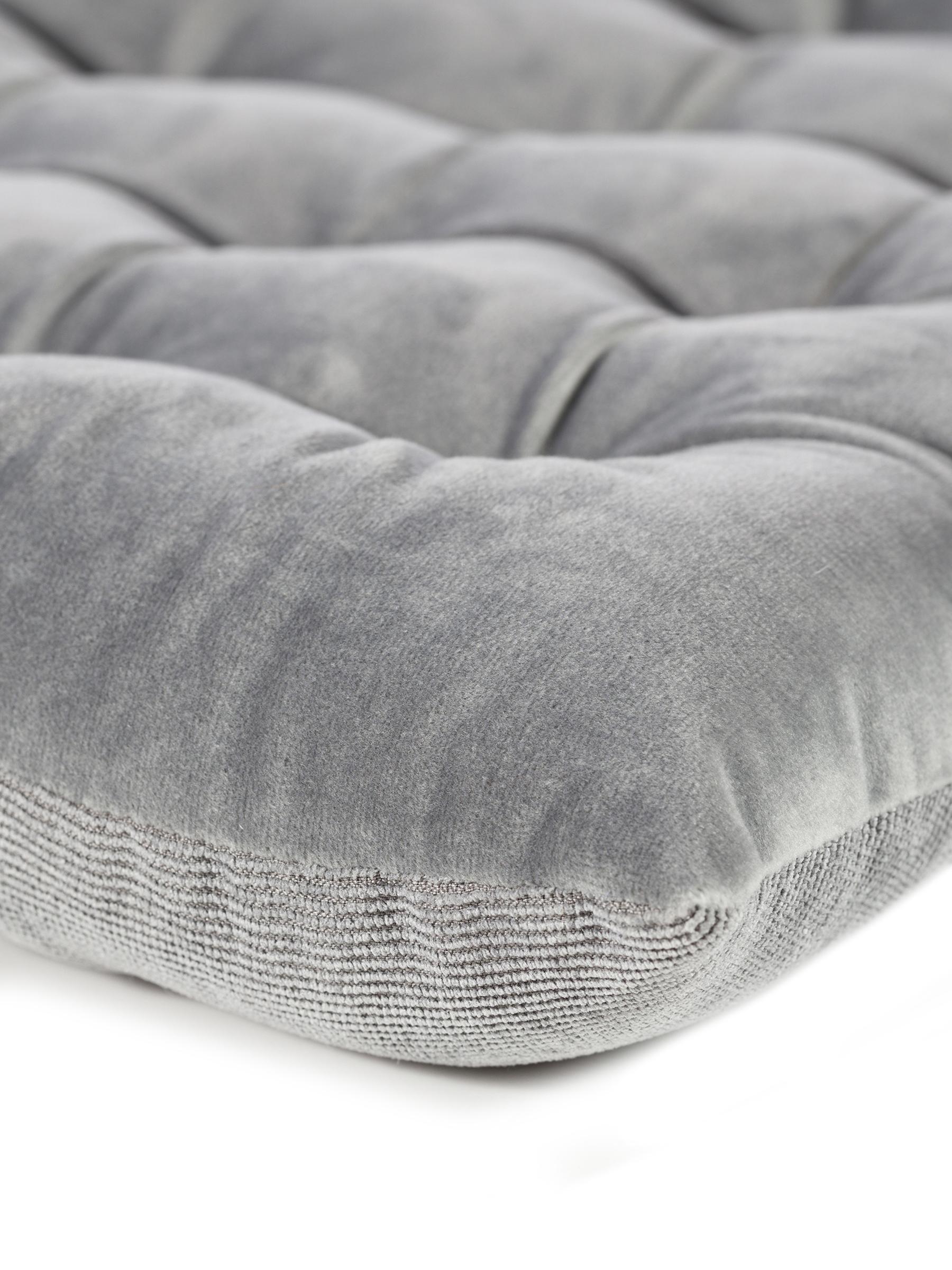 Wendesitzkissen Milana, Samt/Cord, Vorderseite: Polyestersamt, Rückseite: Cord (90% Polyester, 7% N, Grau, 40 x 40 cm