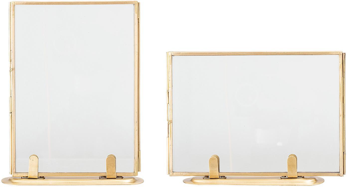 Set 2 cornici da tavolo dorate Camellia, Metallo, rivestito, Ottonato, 10 x 15 cm