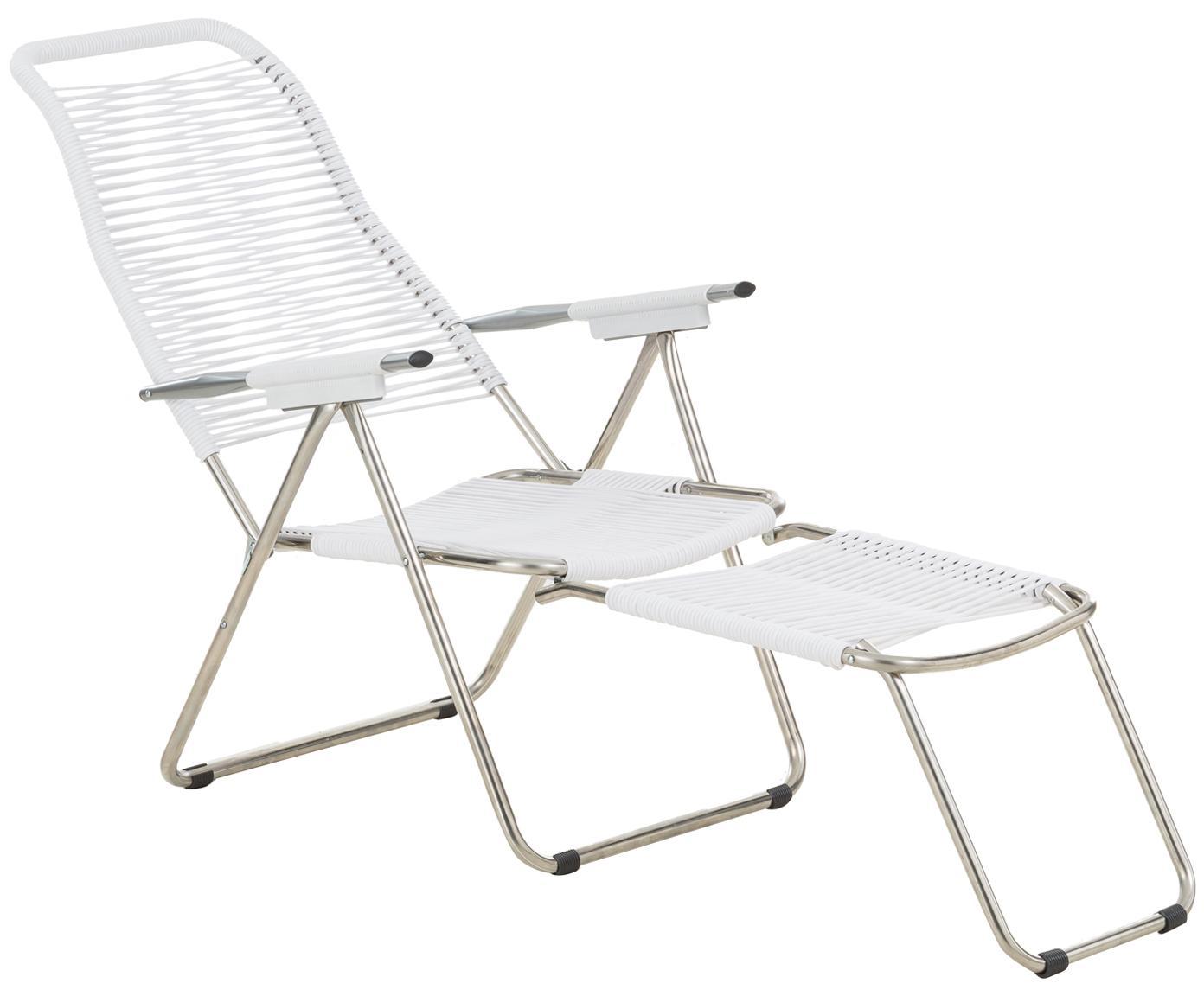 Sedia a sdraio con poggiapiedi Spaghetti, Struttura: alluminio, Rivestimento: nastro di cloruro di poli, Bianco, Larg. 60 x Prof. 48 cm