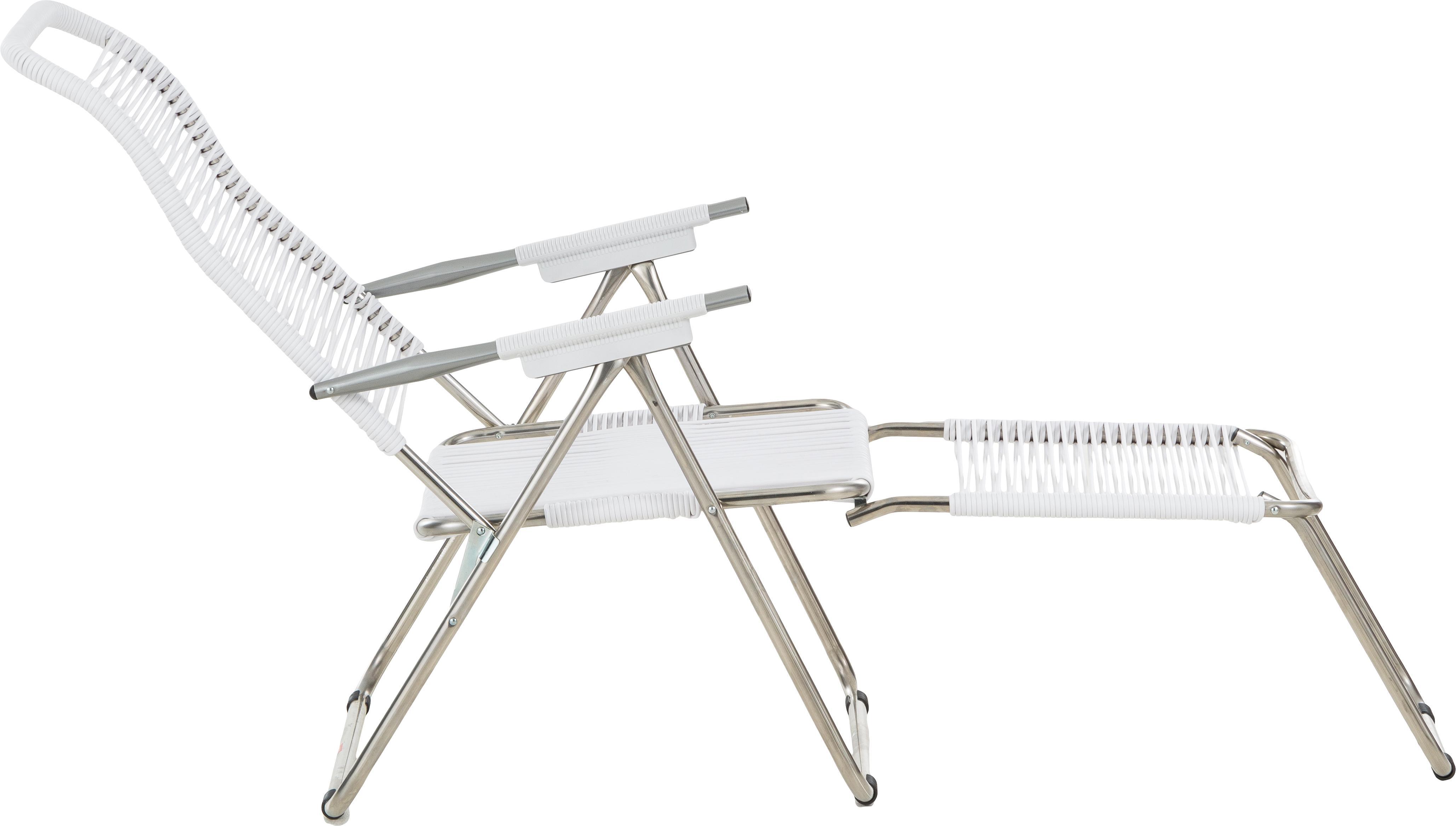 Transat de jardin avec repose-pieds Spaghetti, Blanc