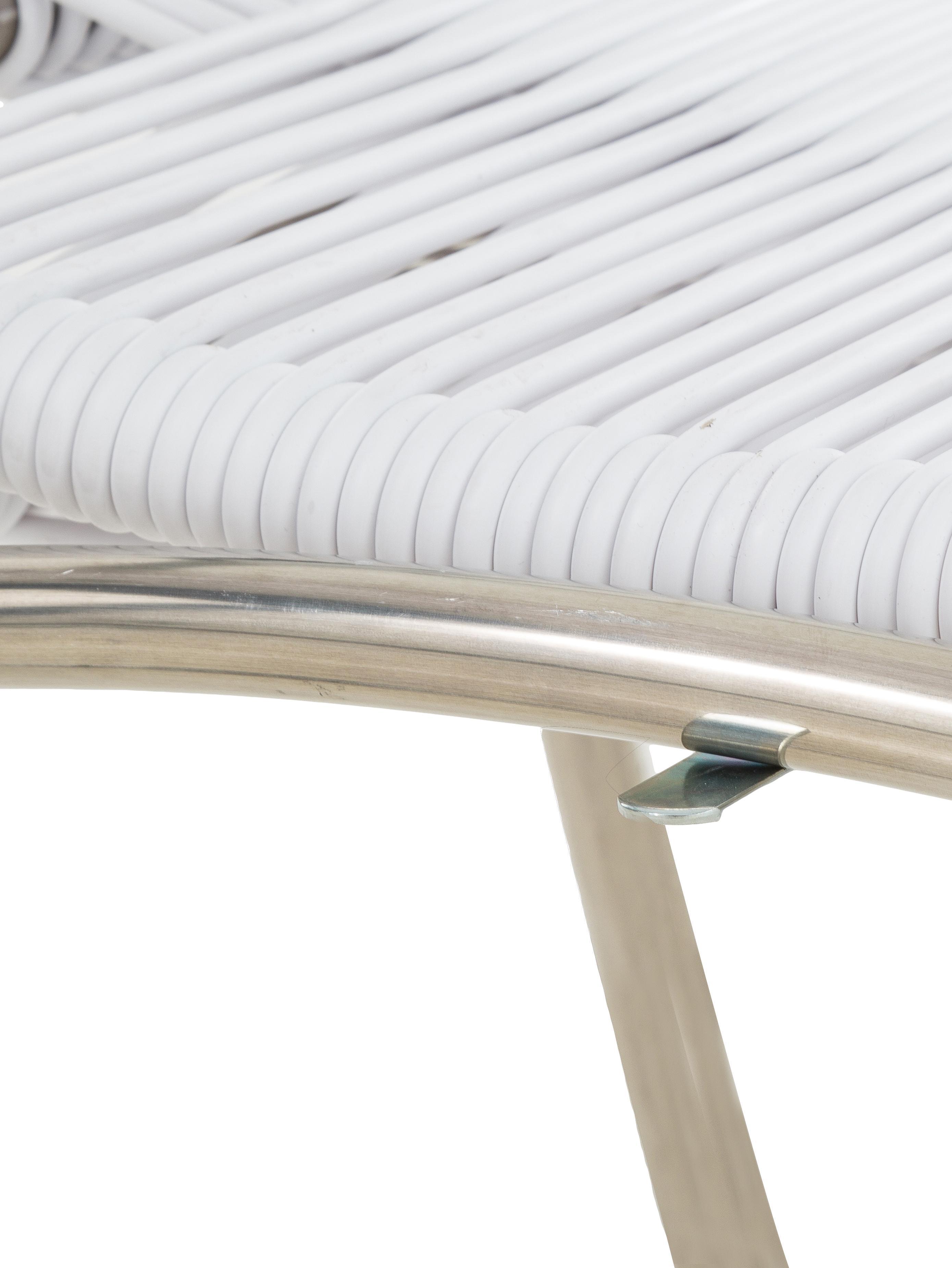 Garten-Liegestuhl Spaghetti mit Fußstütze, Gestell: Aluminium, Weiß, B 60 x T 48 cm