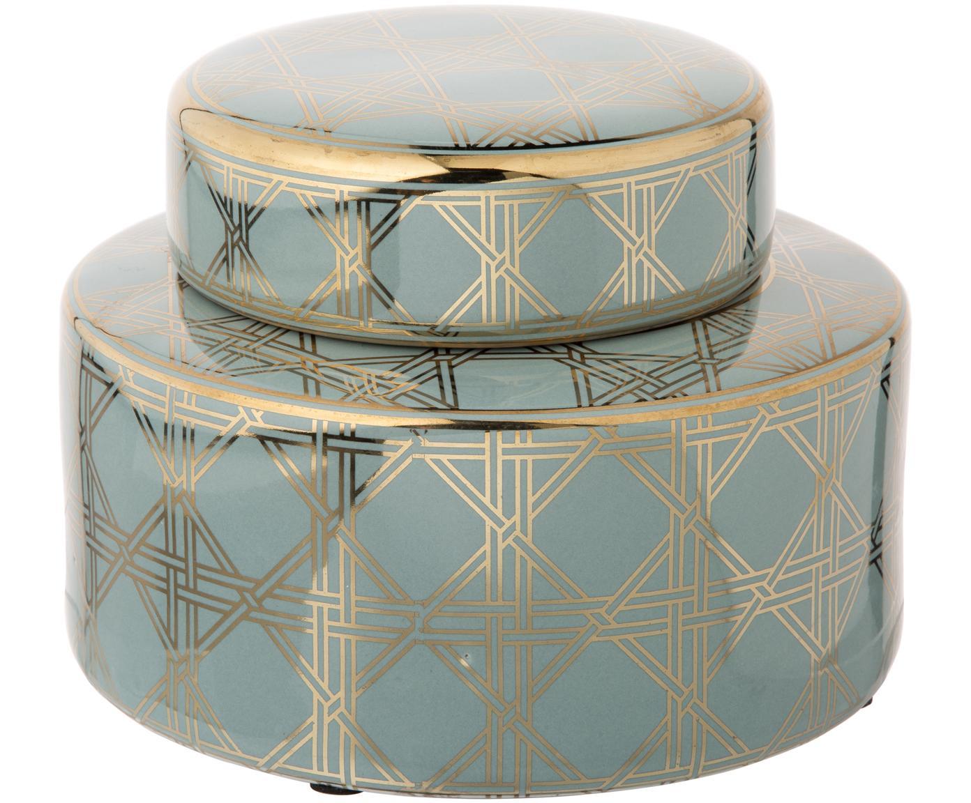 Grote vaas met deksel Egypt uit porselein, Porselein, Turqouise, goudkleurig, Ø 23 x H 16 cm