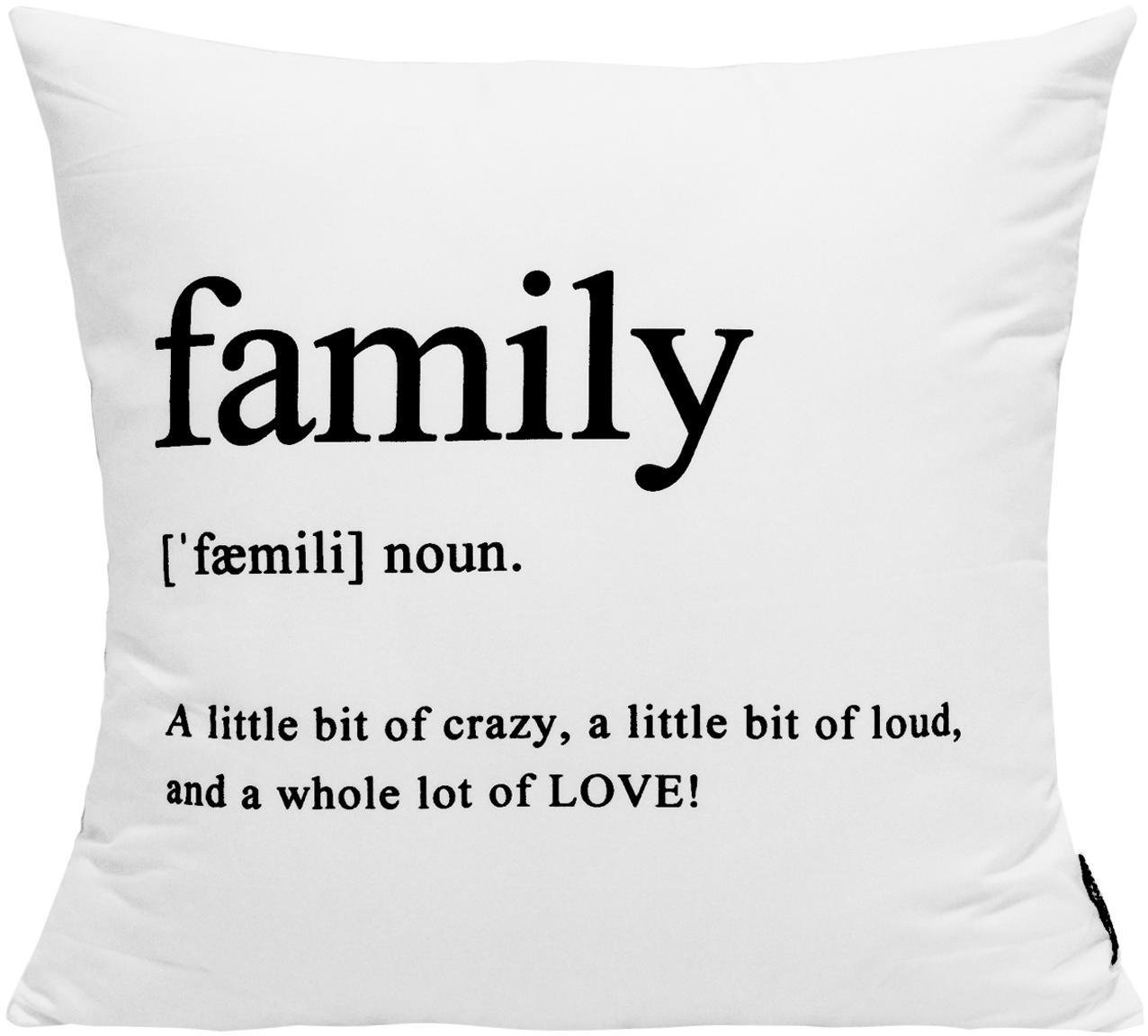 Kussenhoes Family in zwart/wit met opschrift, 100% polyester, Zwart, wit, 45 x 45 cm