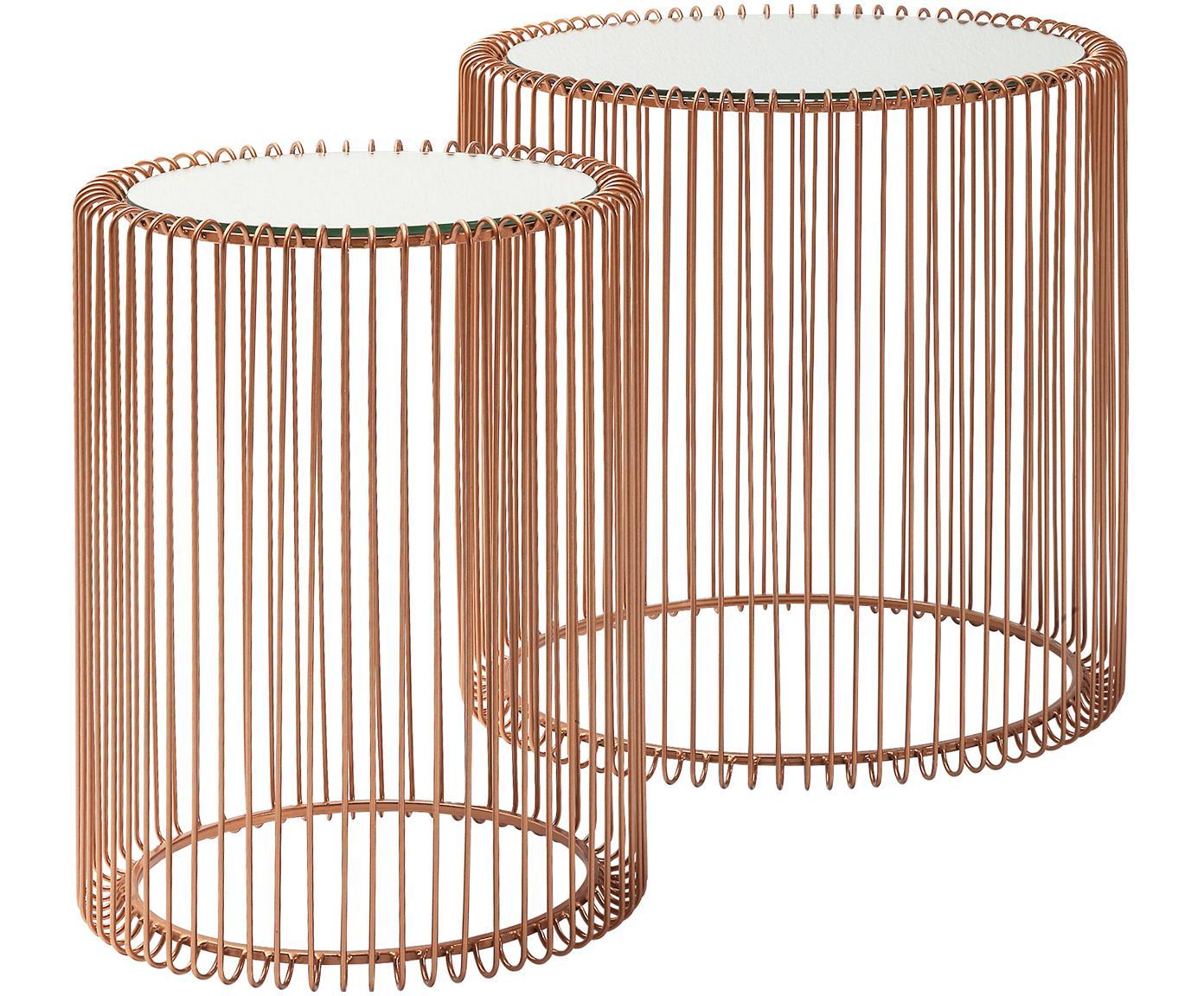 Komplet stolików pomocniczych z metalu ze szklanym blatem Wire, 2 elem., Stelaż: metal malowany proszkowo, Blat: szkło hartowane foliowane, Miedź, Różne rozmiary