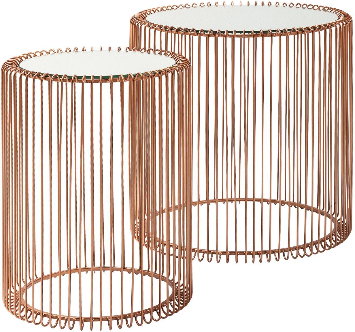 Metall-Beistelltisch 2er-Set Wire mit Glasplatte, Gestell: Metall, pulverbeschichtet, Tischplatte: Sicherheitsglas, foliert, Kupfer, Sondergrößen