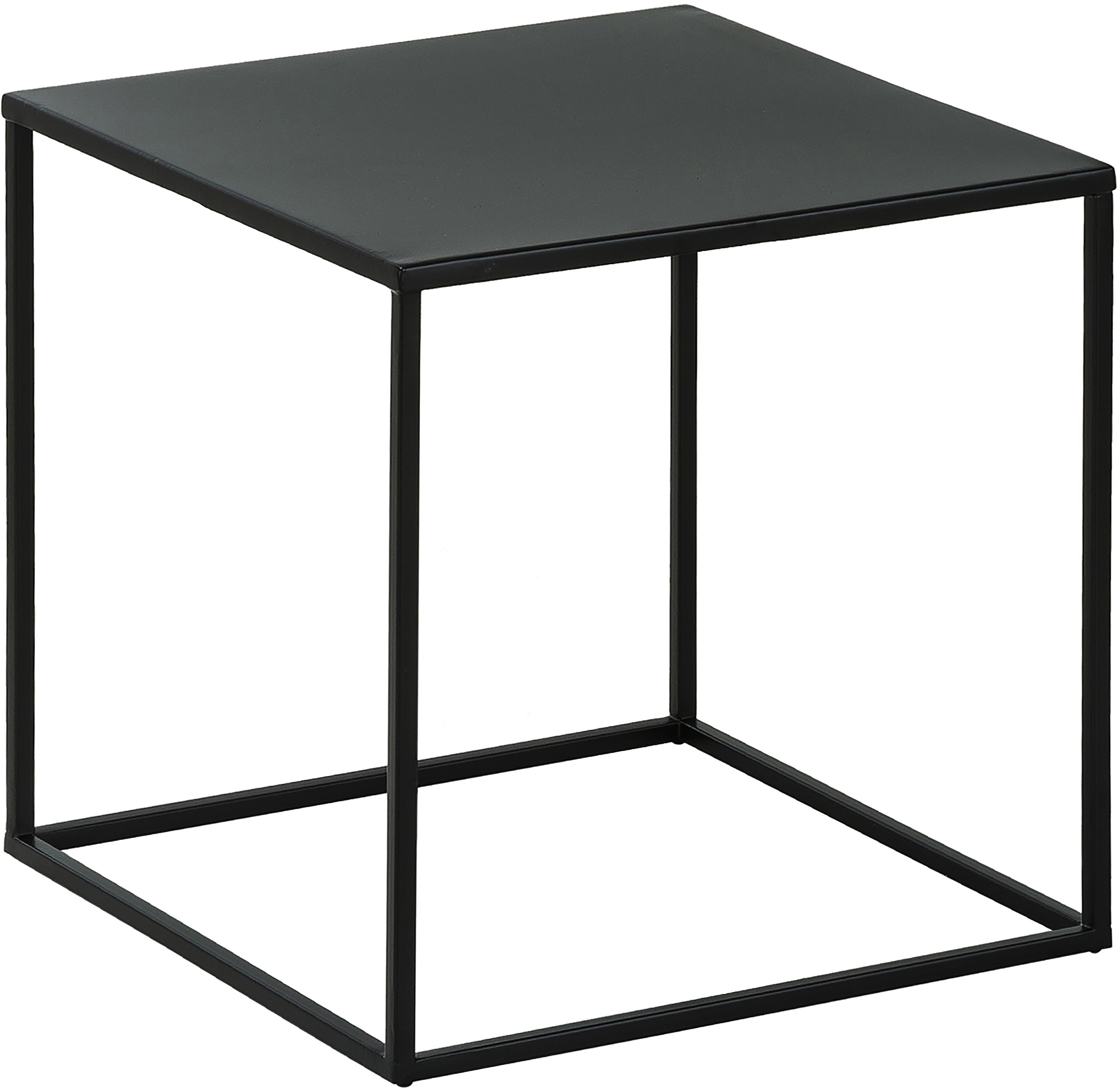Tavolino in metallo nero Stina, Metallo verniciato a polvere, Nero opaco, Larg. 45 x Alt. 45 cm