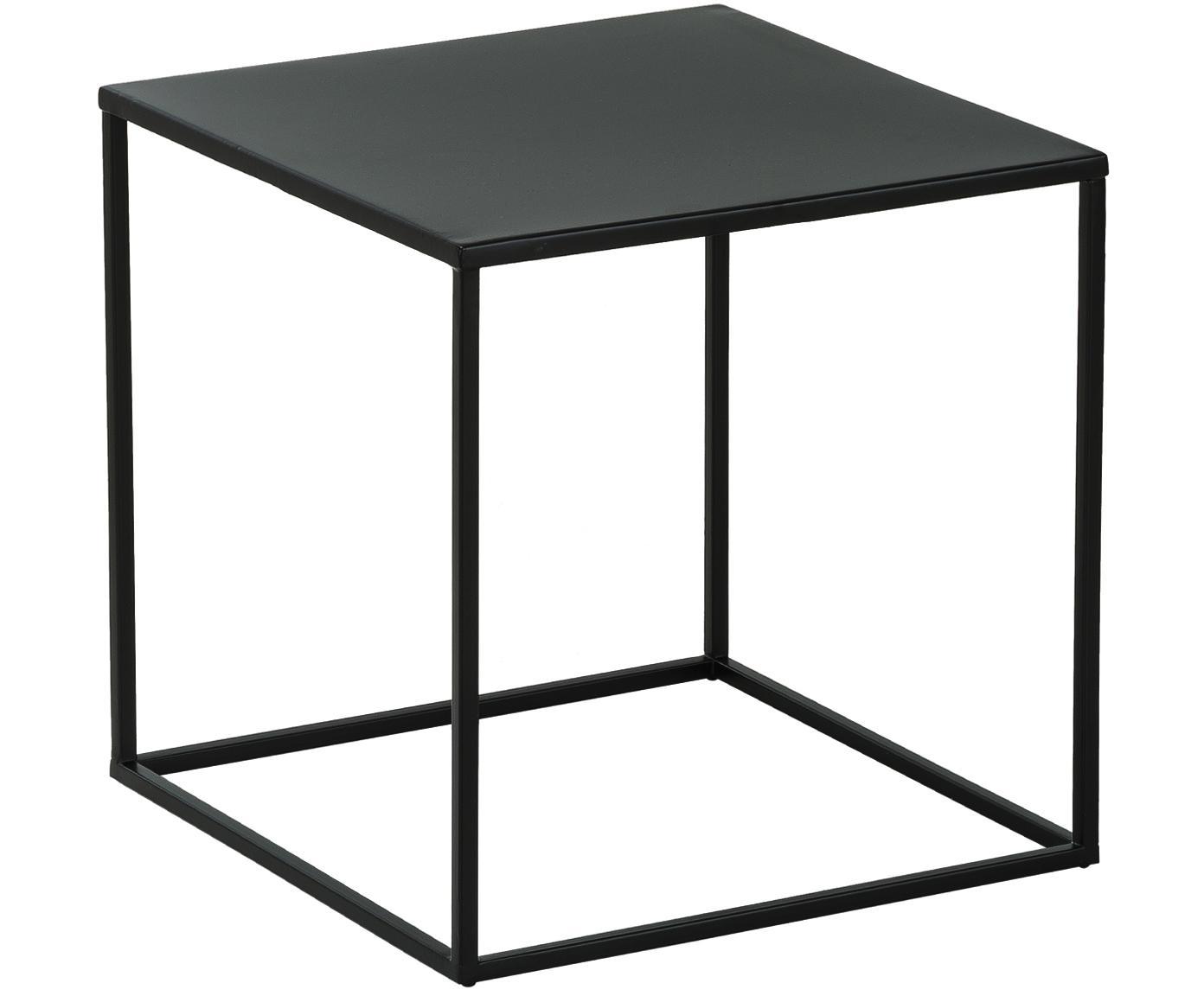 Bijzettafel Stina van metaal, Gepoedercoat metaal, Mat zwart, 45 x 45 cm